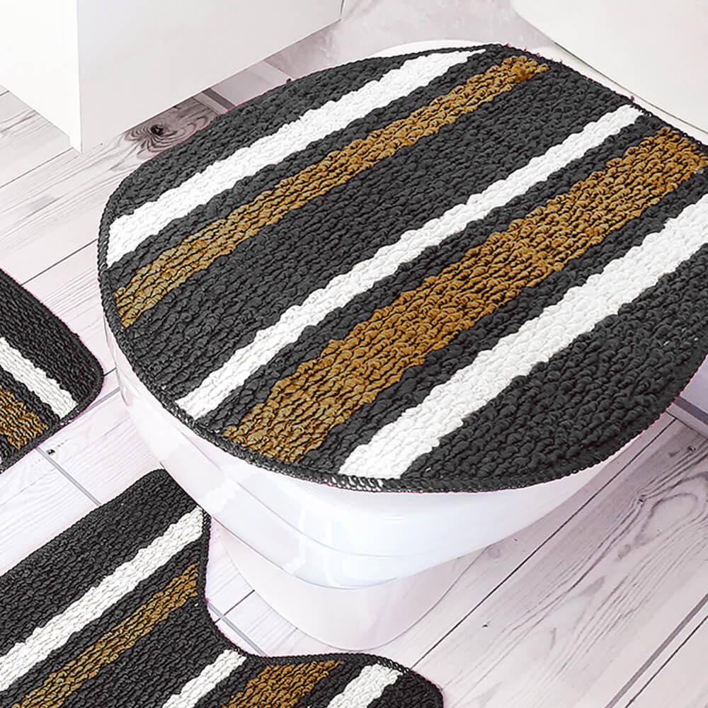 Jogo de Tapete de Banheiro 3 Peças Onix Lívia