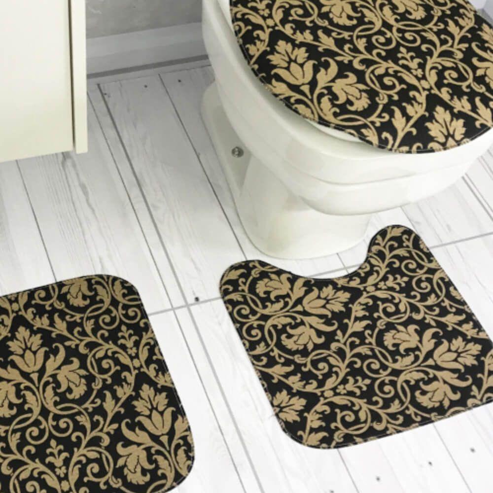 Jogo de Tapete de Banheiro 3 Peças Ouro