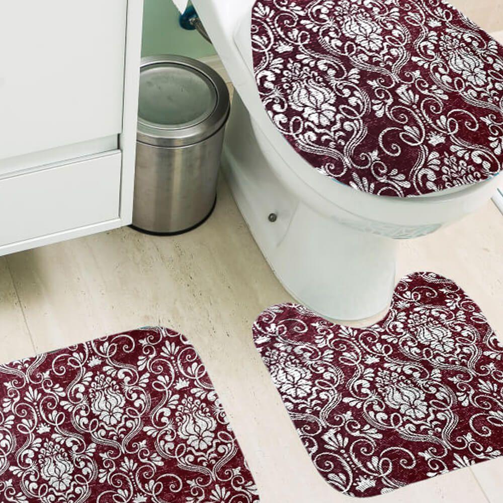 Jogo de Tapete de Banheiro 3 Peças Silver Anabella