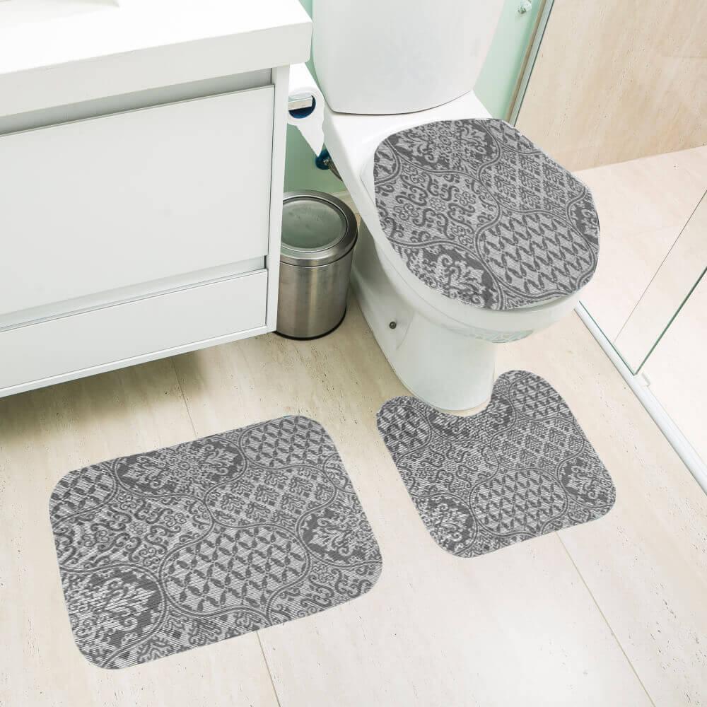 Jogo de Tapete de Banheiro 3 Peças Silver Lívia
