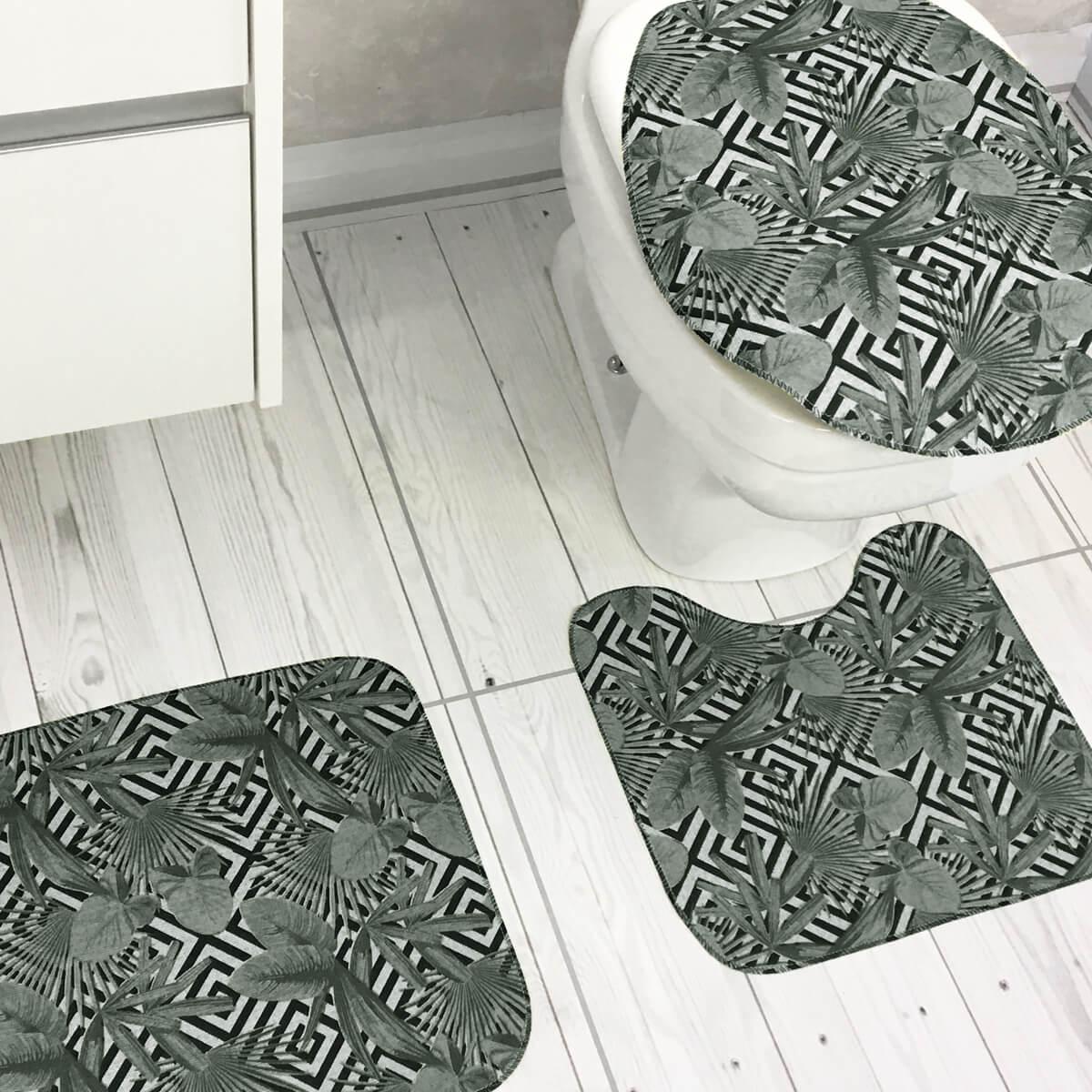 Jogo de Tapete de Banheiro 3 Peças Silver Maya