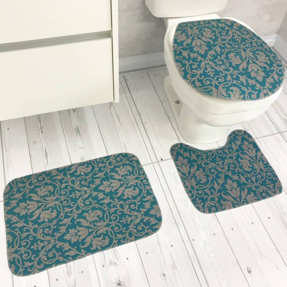 Jogo de Tapete de Banheiro 3 Peças Topázio