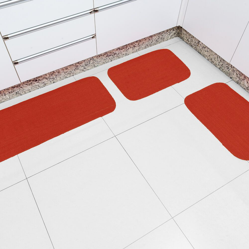 Jogo de Tapete de Cozinha 3 Peças Onix Manuela