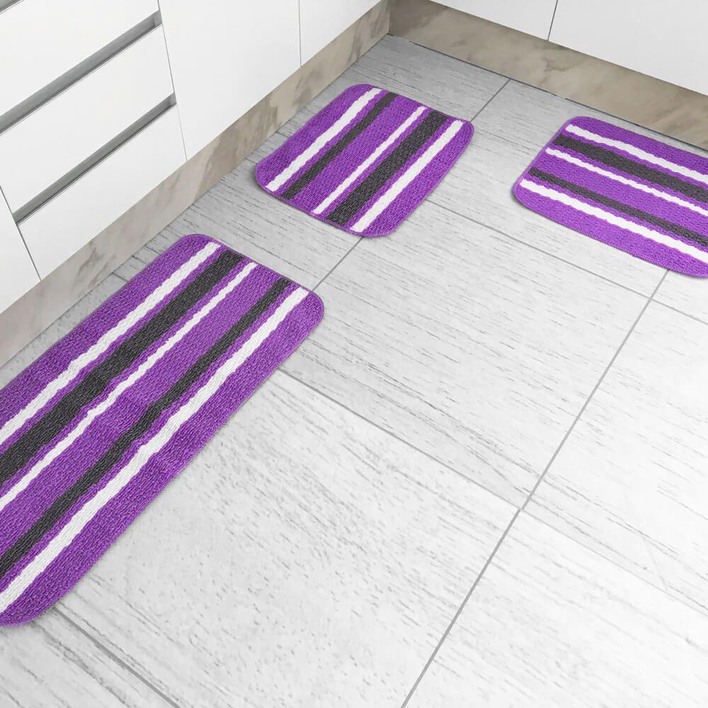 Jogo de Tapete de Cozinha 3 Peças Onix Liz