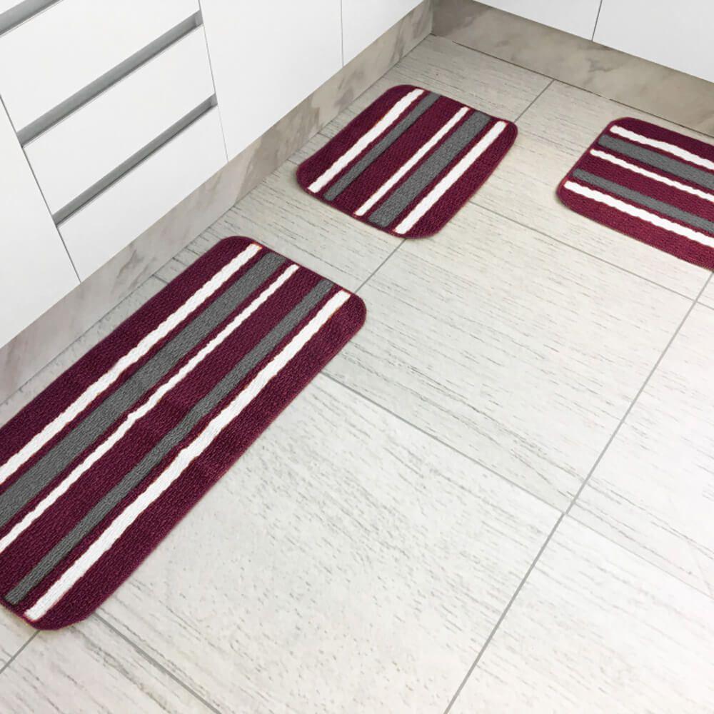 Jogo de Tapete de Cozinha 3 Peças Onix Púrpura