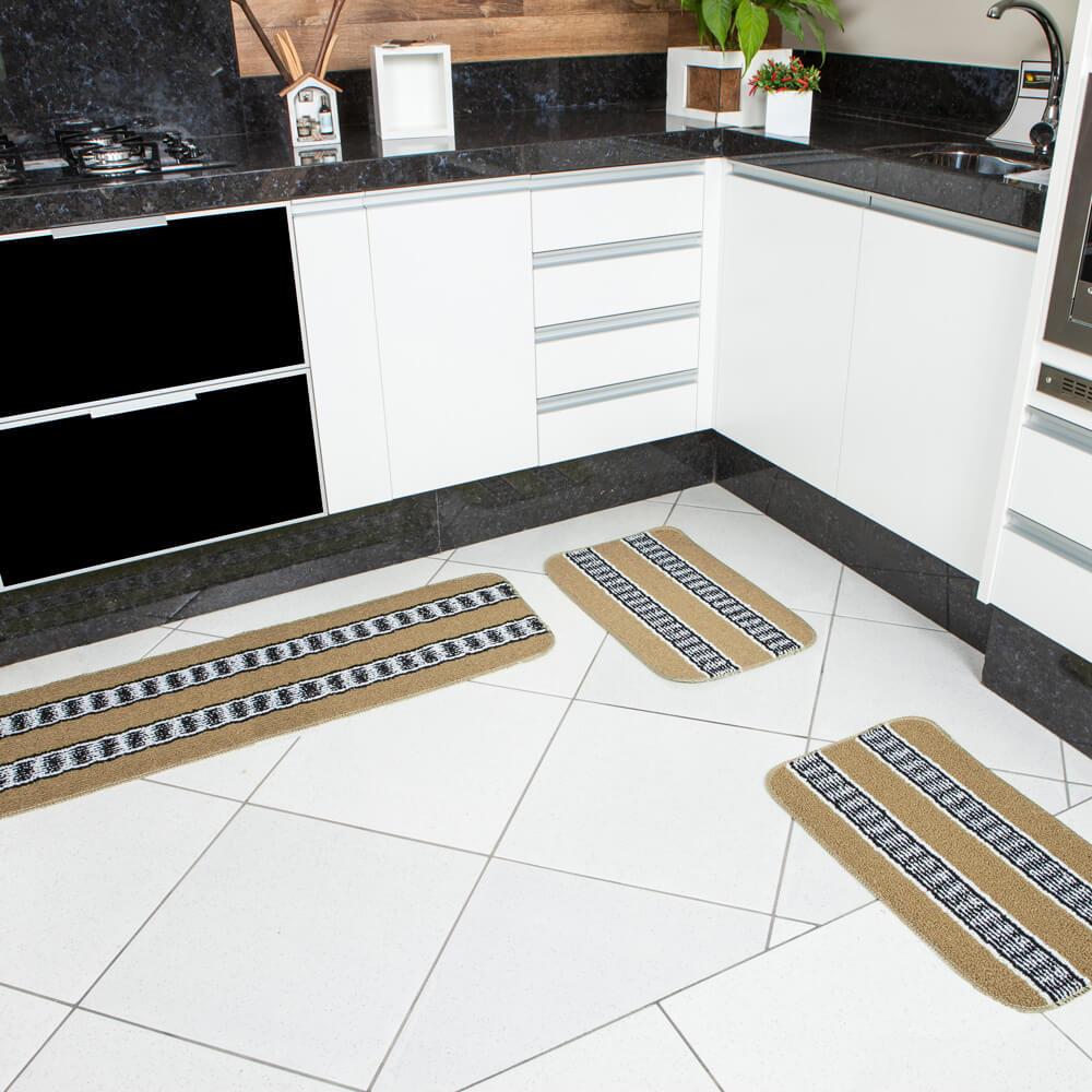 Jogo de Tapete de Cozinha 3 Peças Onix Tania