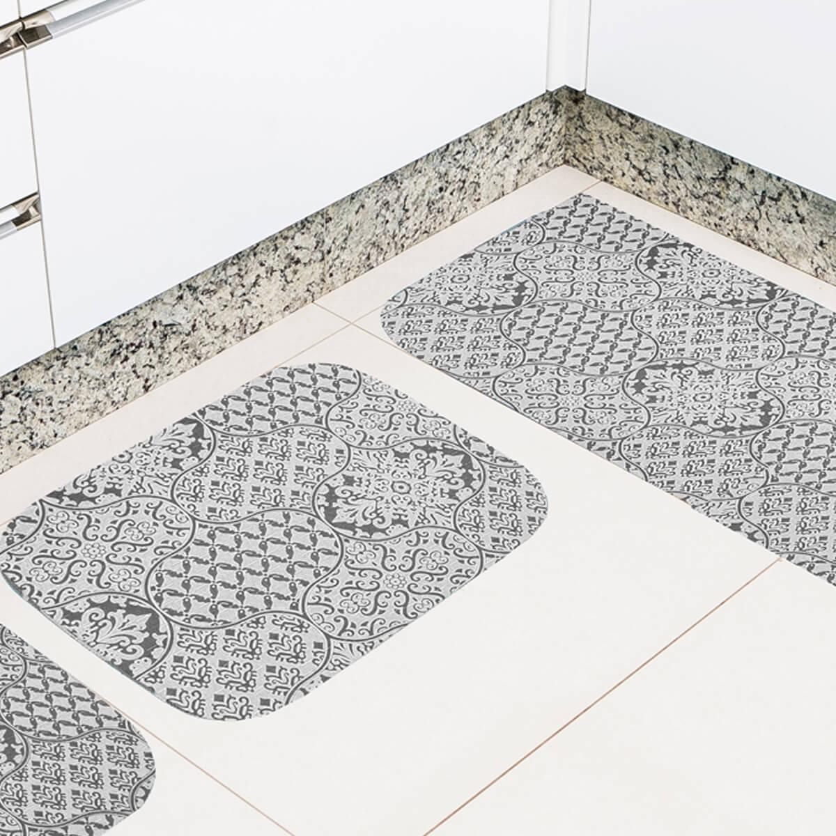 Jogo de Tapete de Cozinha 3 Peças Silver Parquet