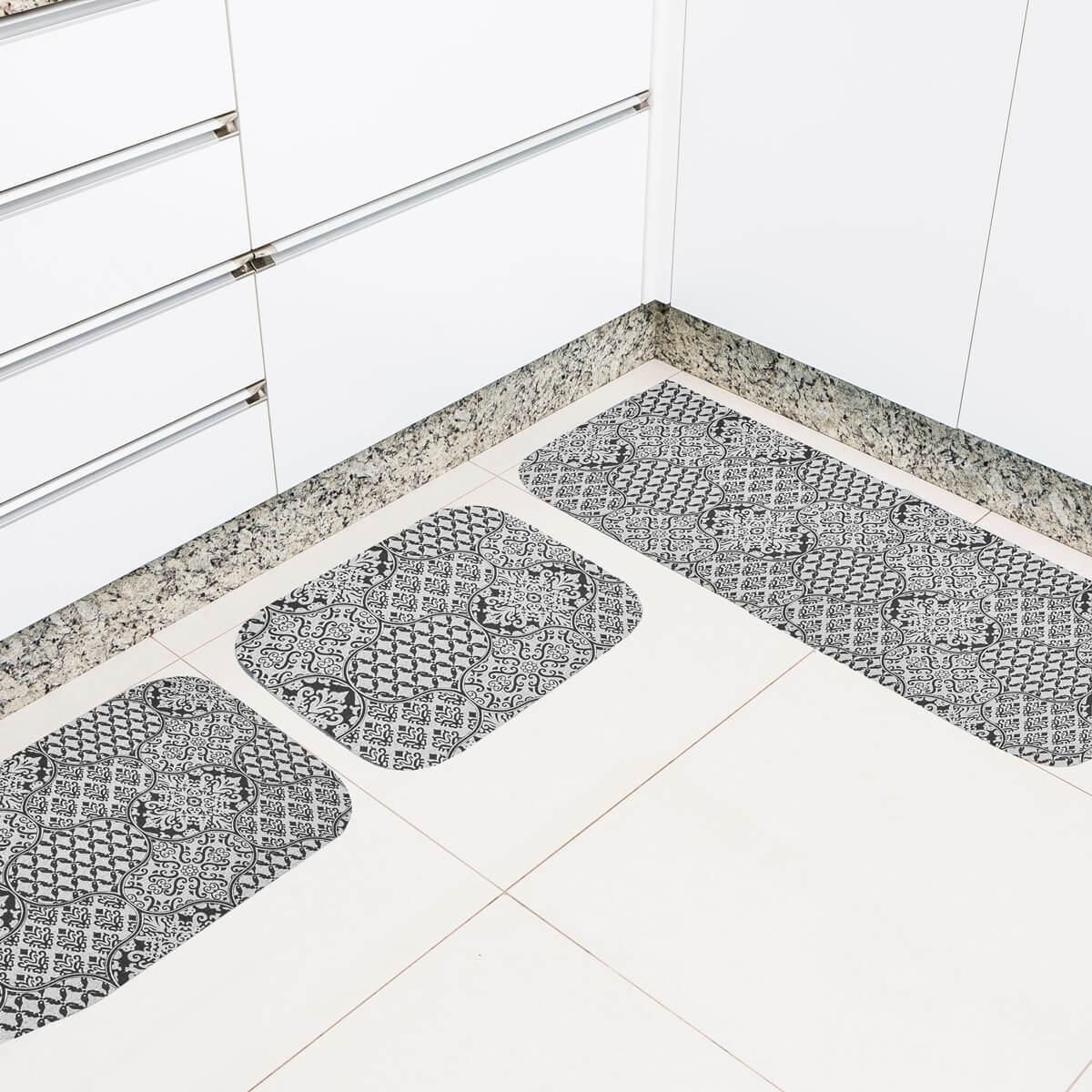 Jogo de Tapete de Cozinha 3 Peças Silver Ladrilho