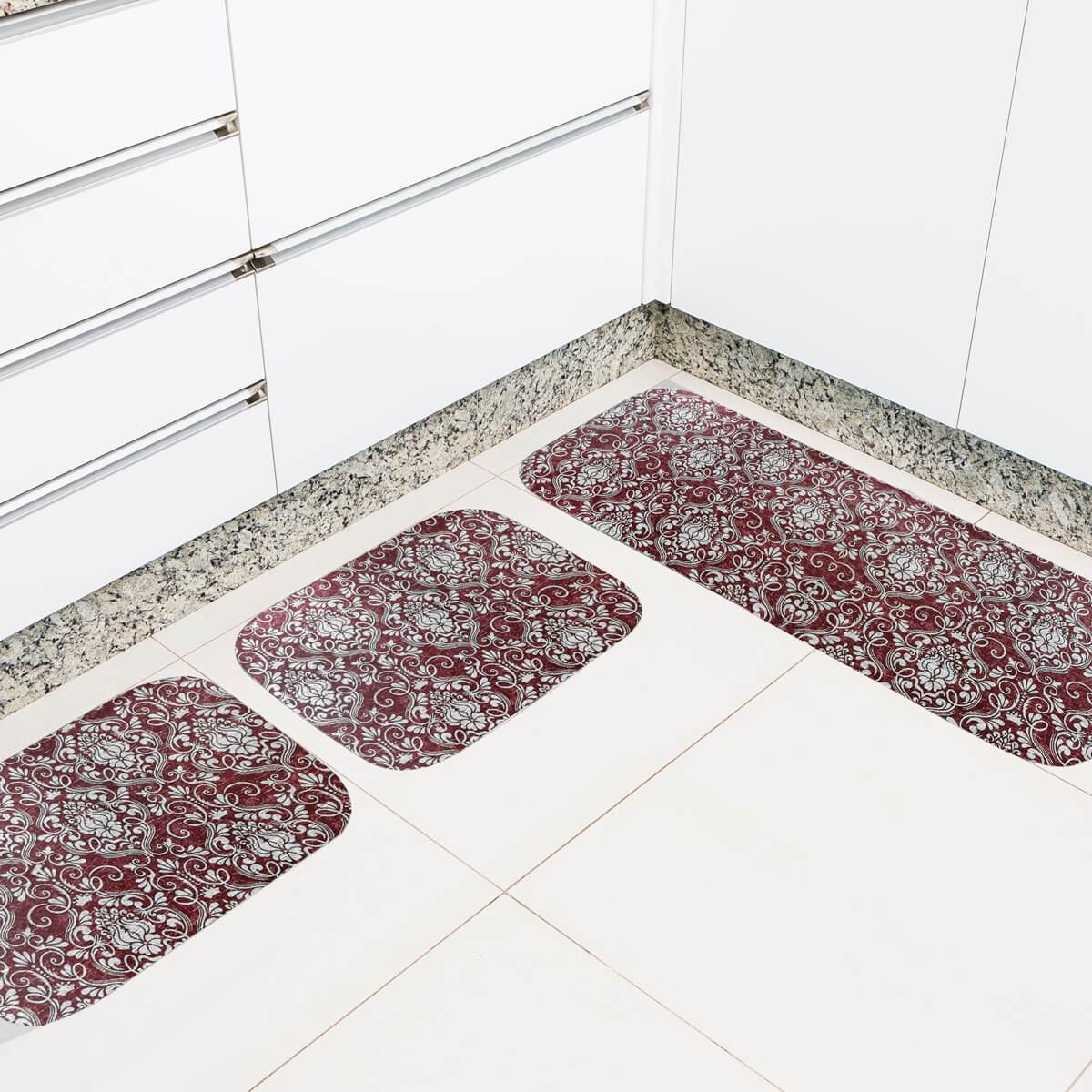 Jogo de Tapete de Cozinha 3 Peças Silver Anabella