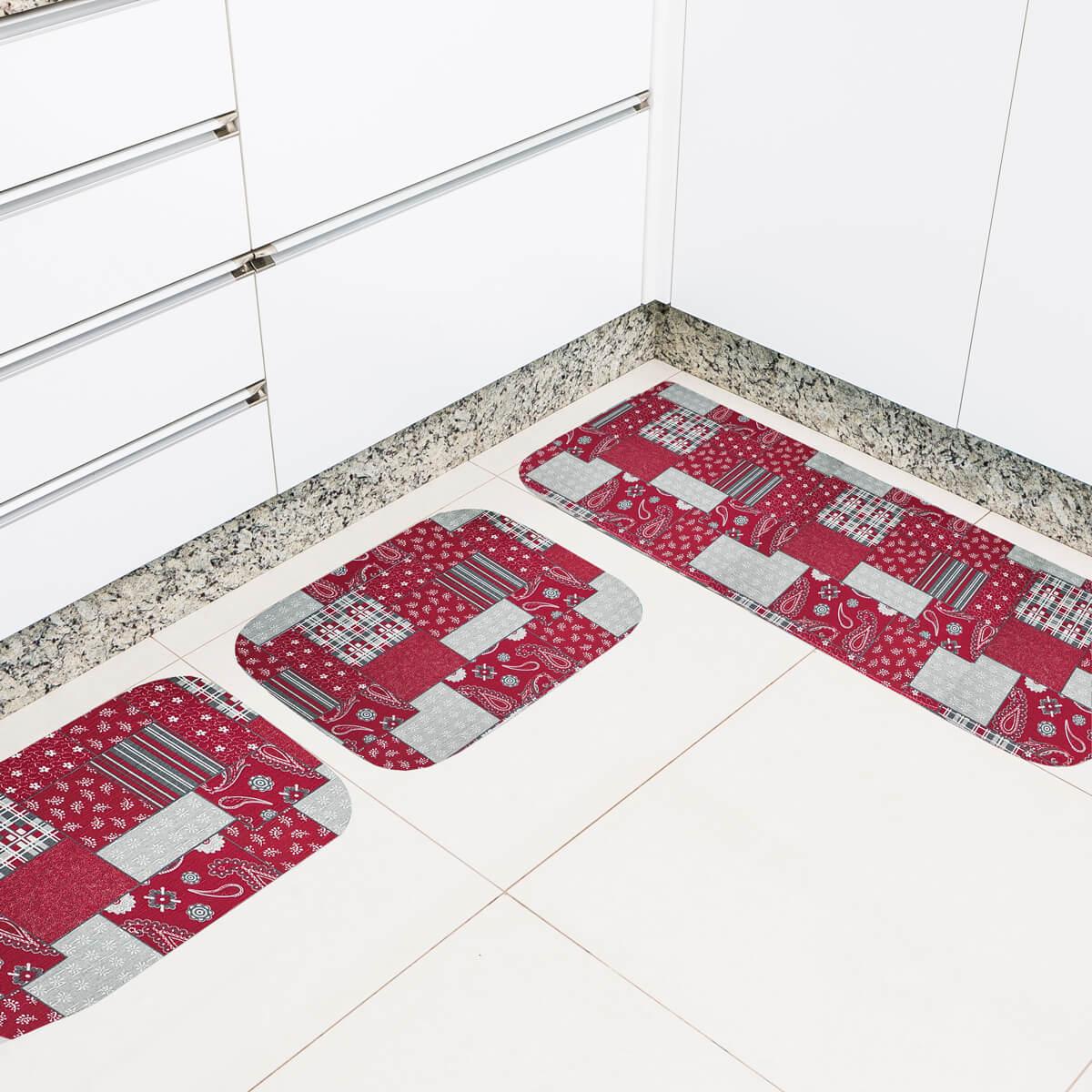 Jogo de Tapete de Cozinha 3 Peças Silver Retalhos