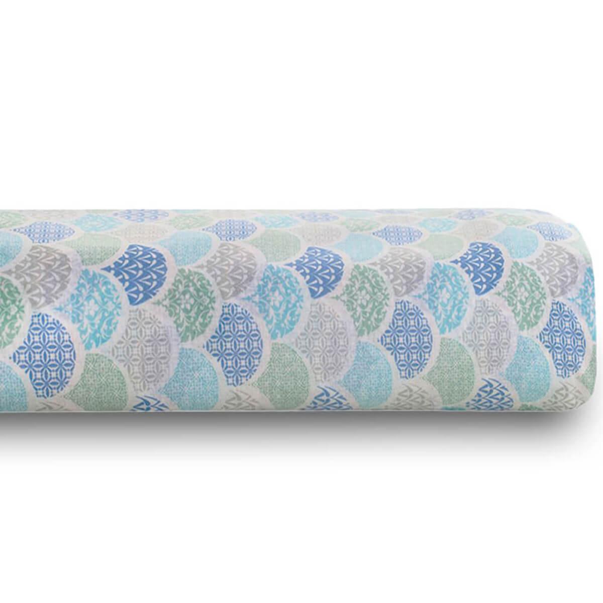 Lençol Casal Avulso 100% Algodão Royal Estampado Deco Azul