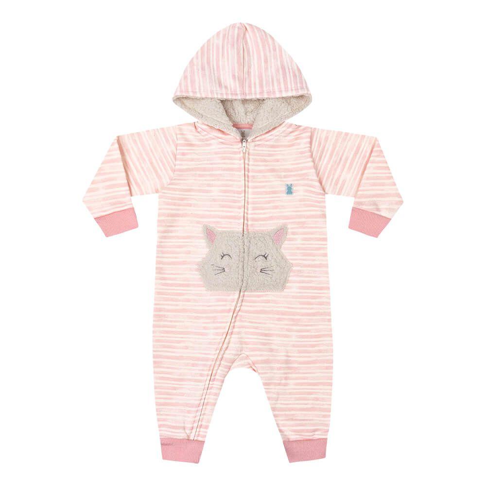 Macacão Bebê Menina Listradinho Rosa