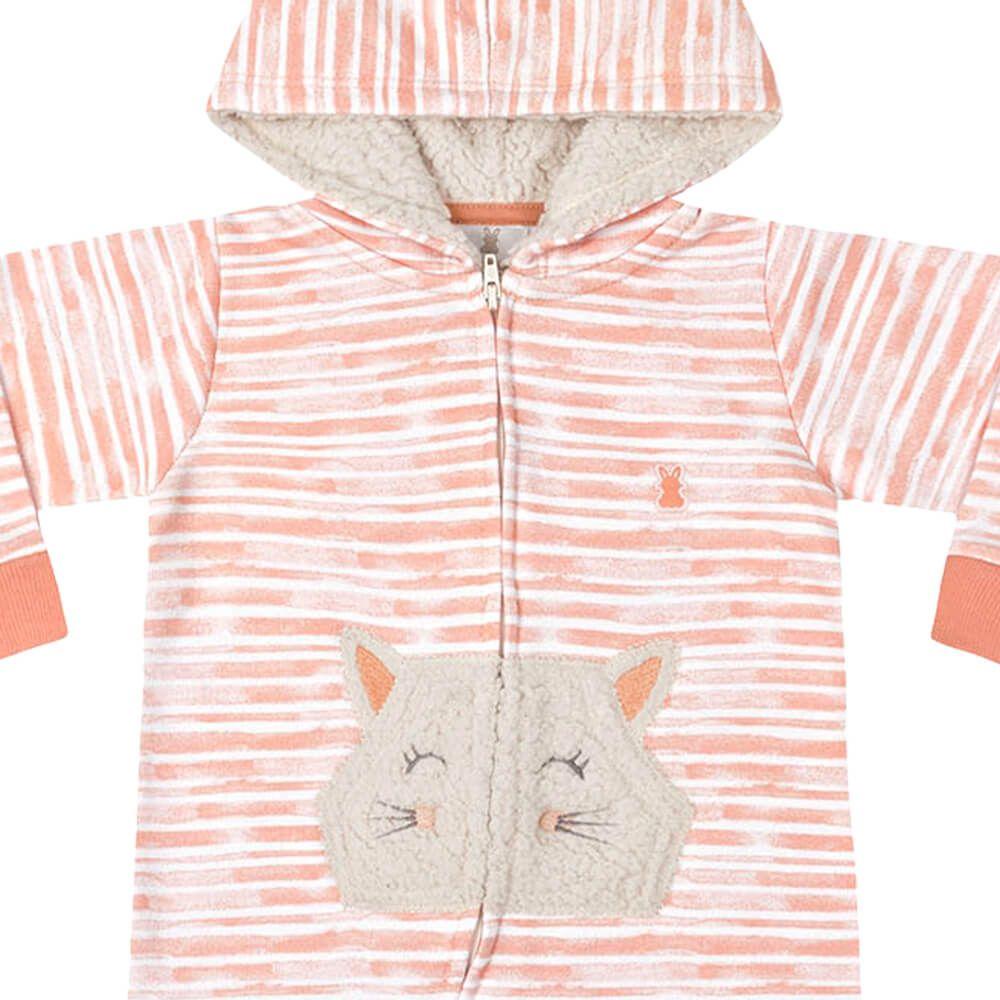 Macacão Bebê Menina Listradinho Laranja