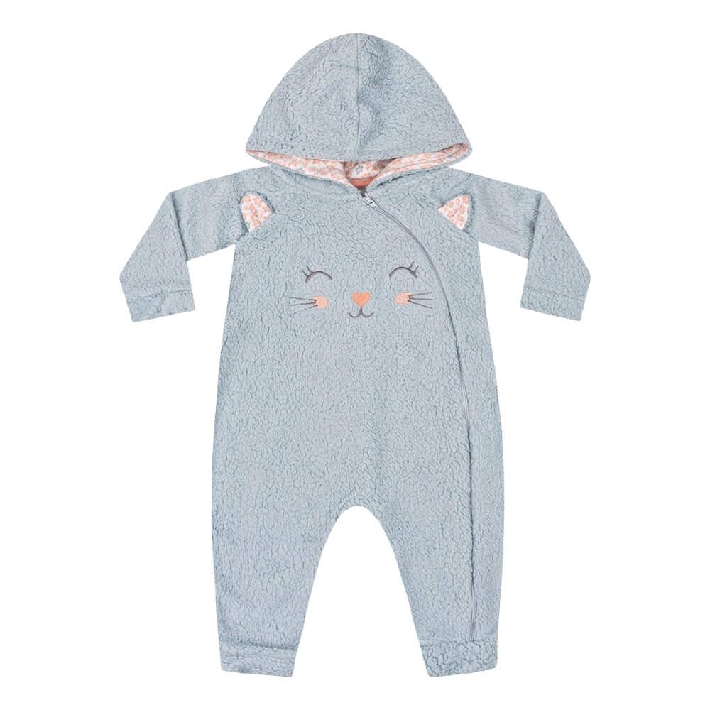Macacão Bebê Menina Pelúcia Gatinha Azul