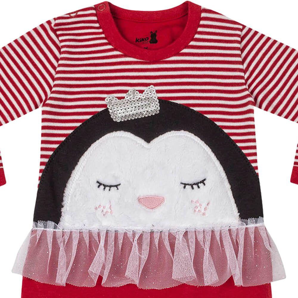 Macacão Bebê Menina Suedine Vermelho