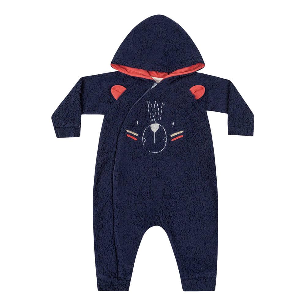 Macacão Bebê Menino Pelúcia Ursinho Marinho