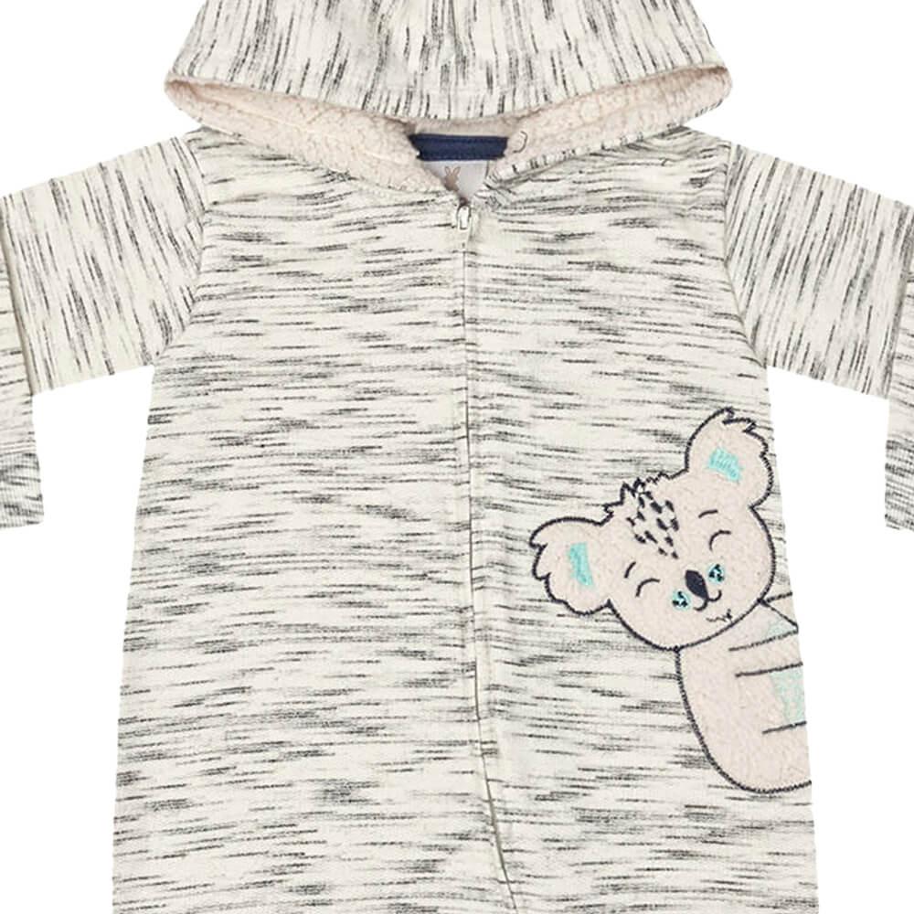 Macacão Bebê Menino Ursinho Branco