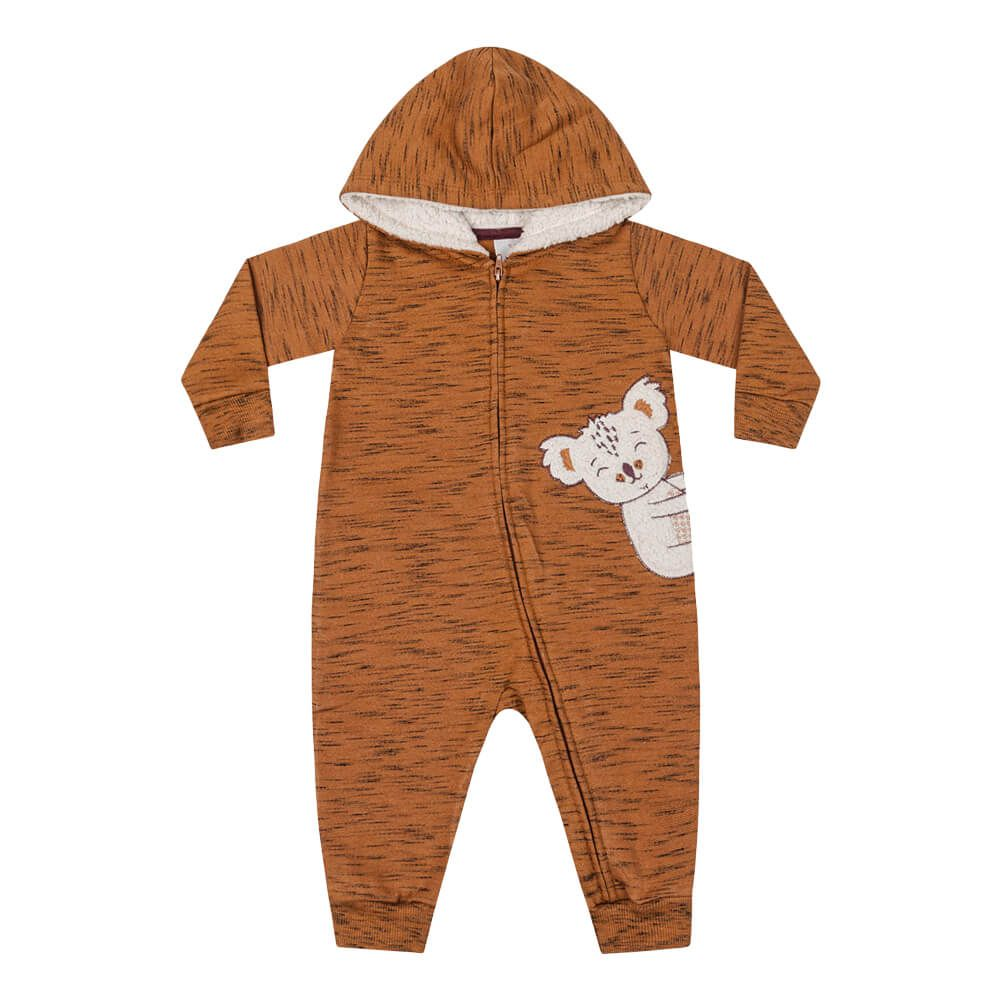 Macacão Bebê Menino Ursinho Cobre