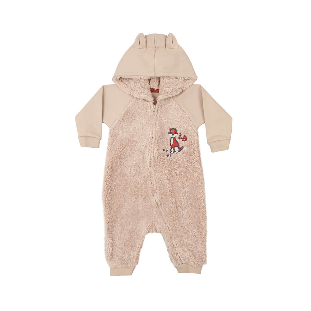 Macacão Bebê Menino Pelúcia Bege