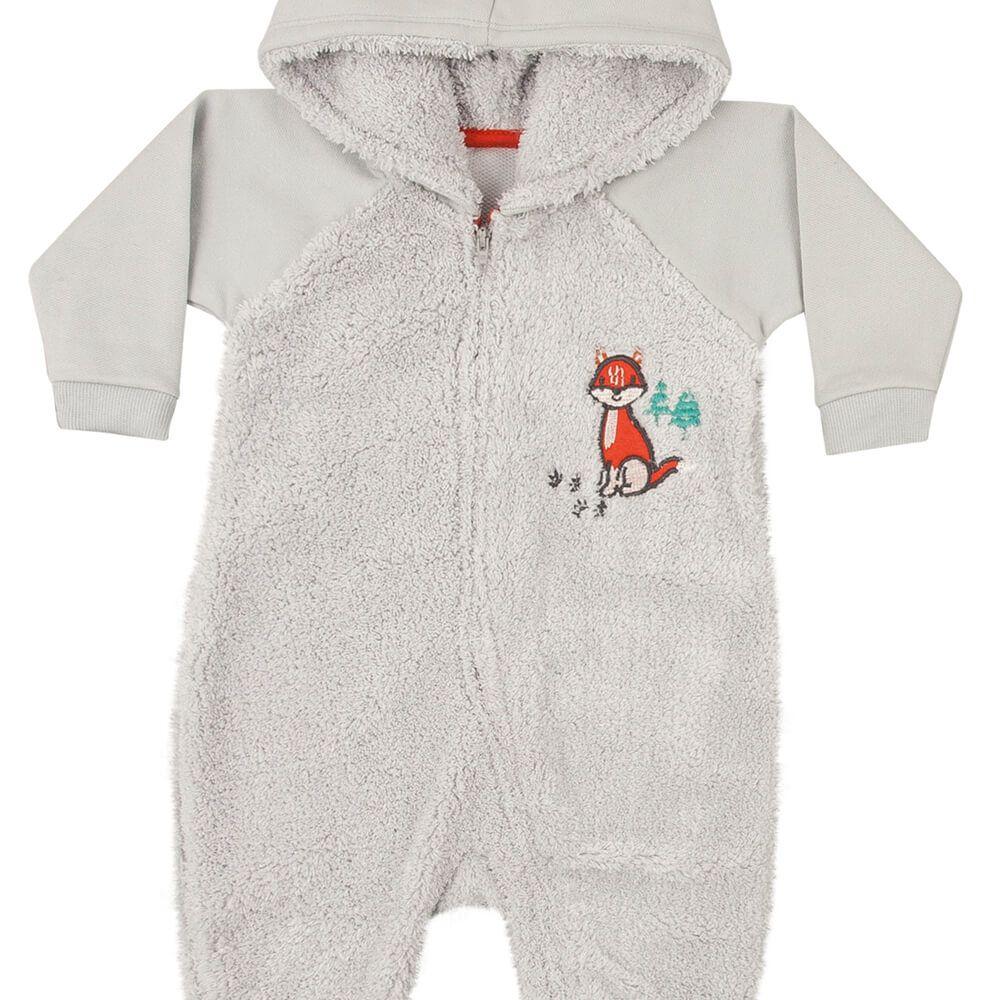 Macacão Bebê Menino Pelúcia Cinza