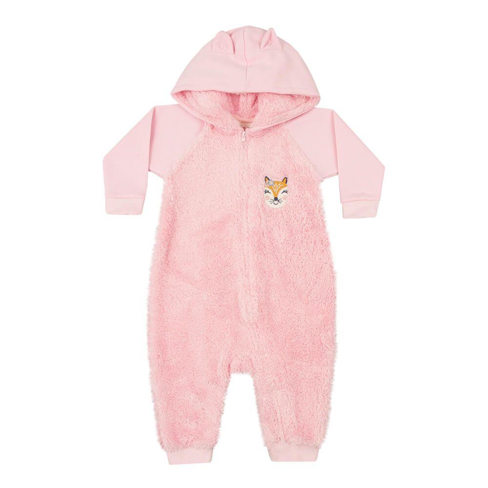 Macacão Bebê Menina Pelúcia Rosa