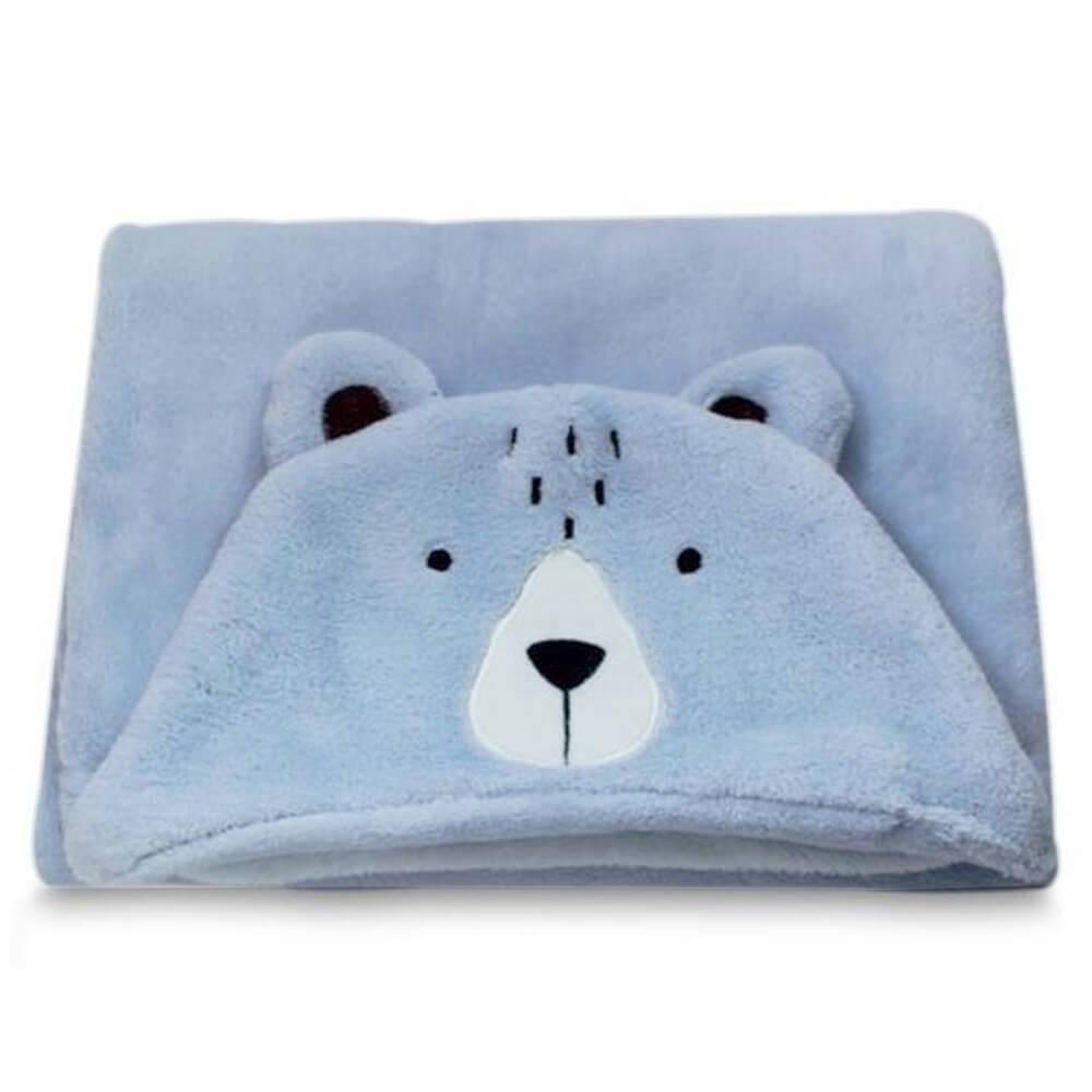 Manta Bebê com Capuz Urso Azul