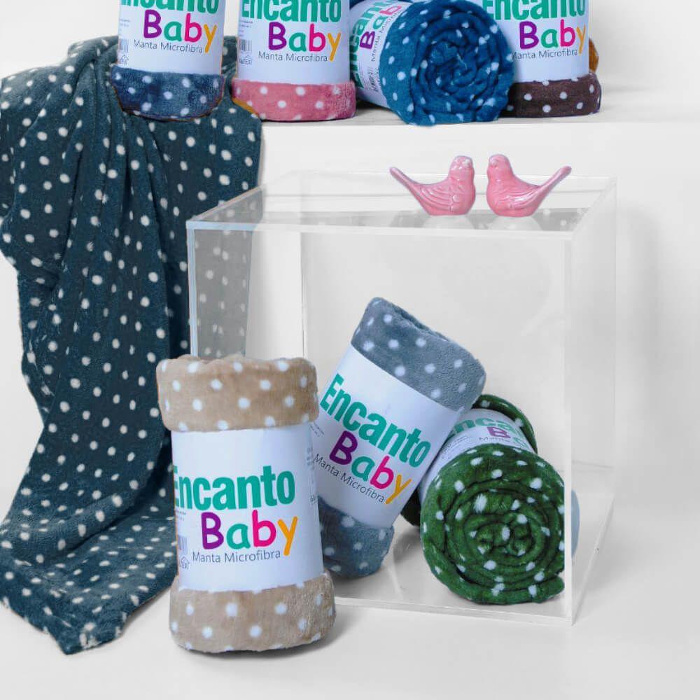 Manta Bebê Encanto Poá Azul