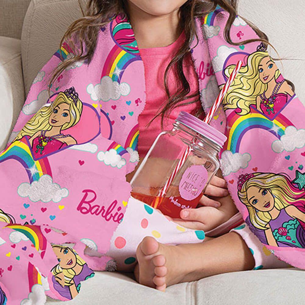 Manta de Sofá Infantil Barbie Reinos Mágicos
