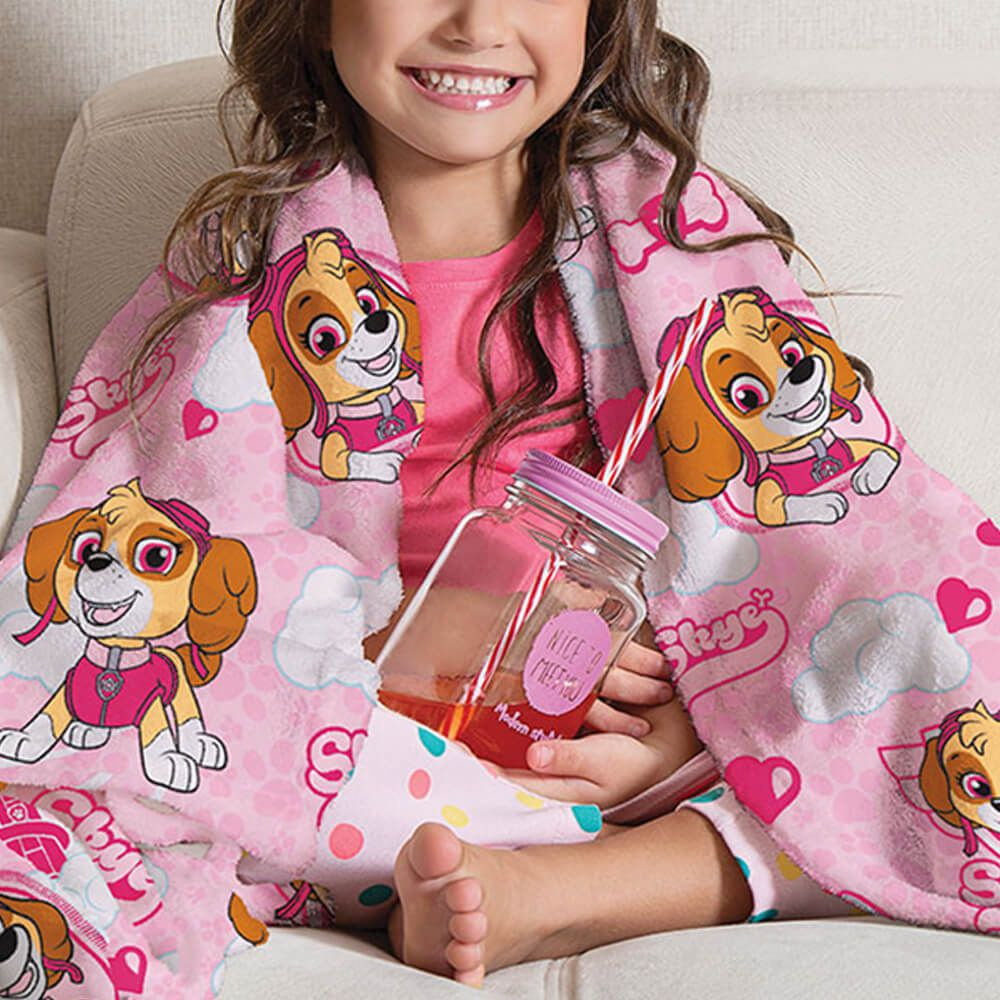 Manta de Sofá Infantil Patrulha Canina Rosa