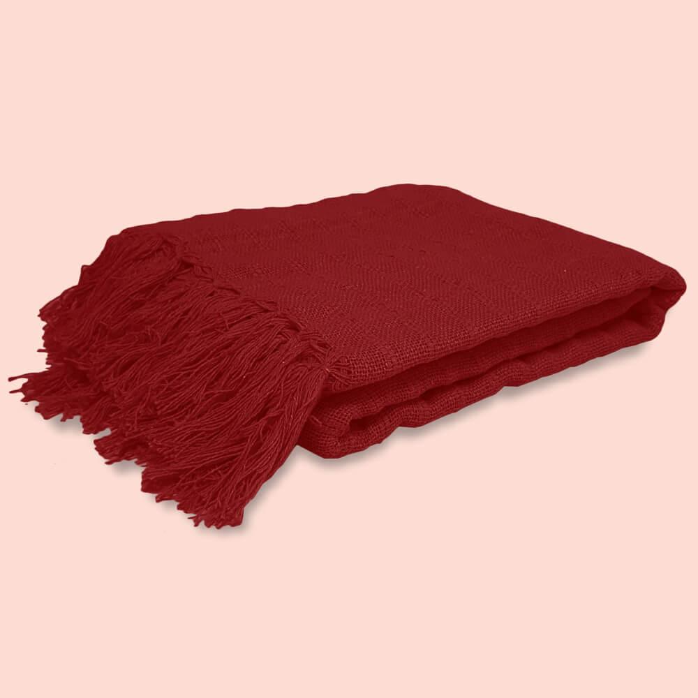 Manta de Sofá Tecelagem Vermelha