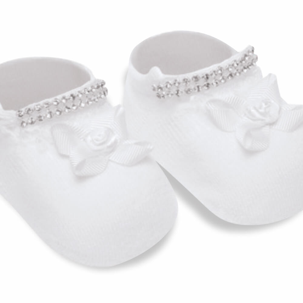 Meia Bebê Menina Botinha Recém Nascido Branca