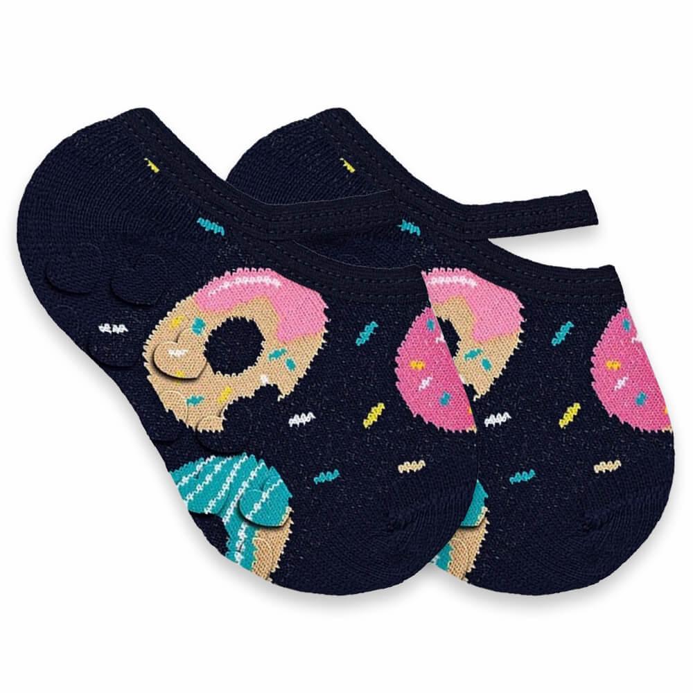 Meia Bebê Menina Sapatilha Antiderrapante Donut