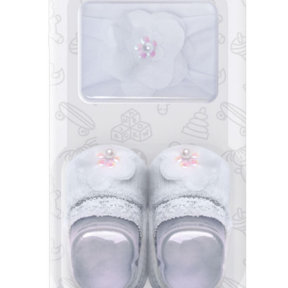 Meia Bebê Menina Sapatinho com Faixa Recém Nascido Branca