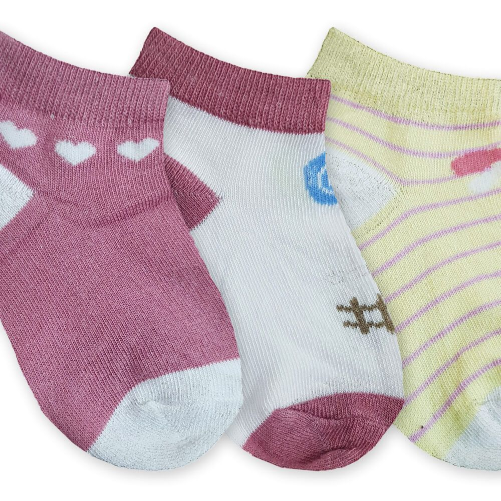 Meia Infantil Menina com 3 Peças Padrão 1