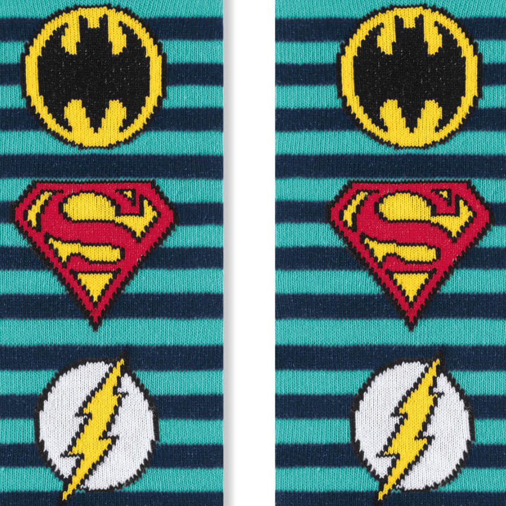 Meia Infantil Menino 25 ao 28 Liga da Justiça Stripes