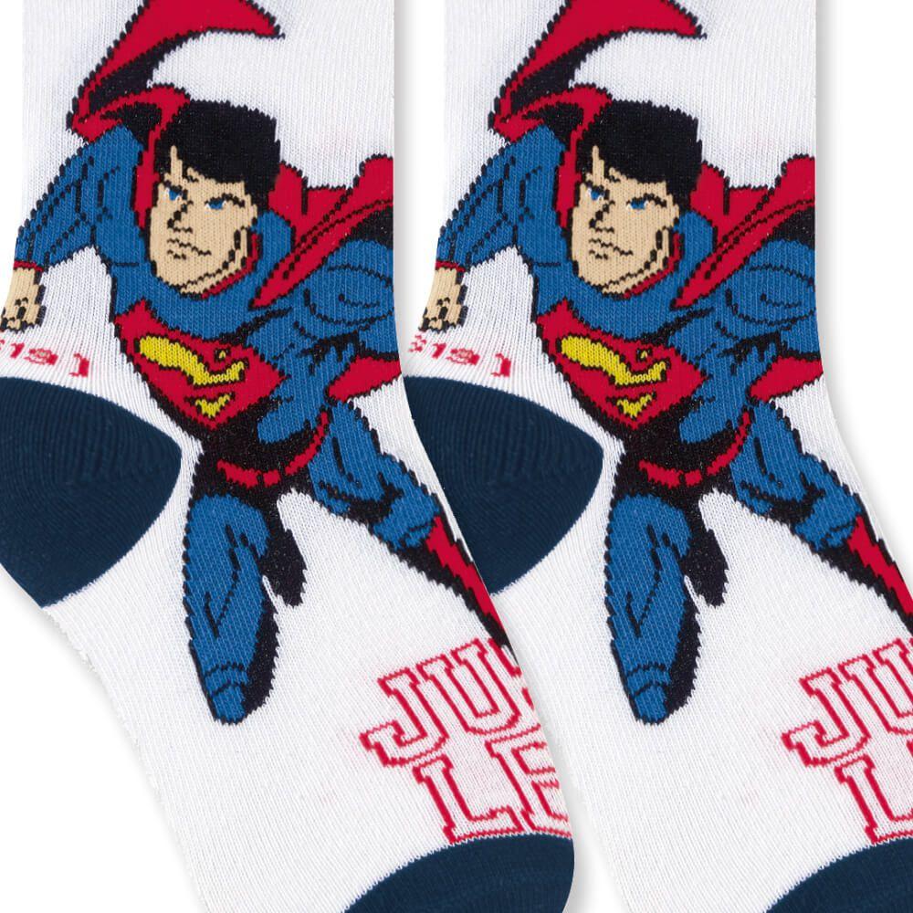 Meia Infantil Menino 25 ao 28 Liga da Justiça Super Homem Krypton