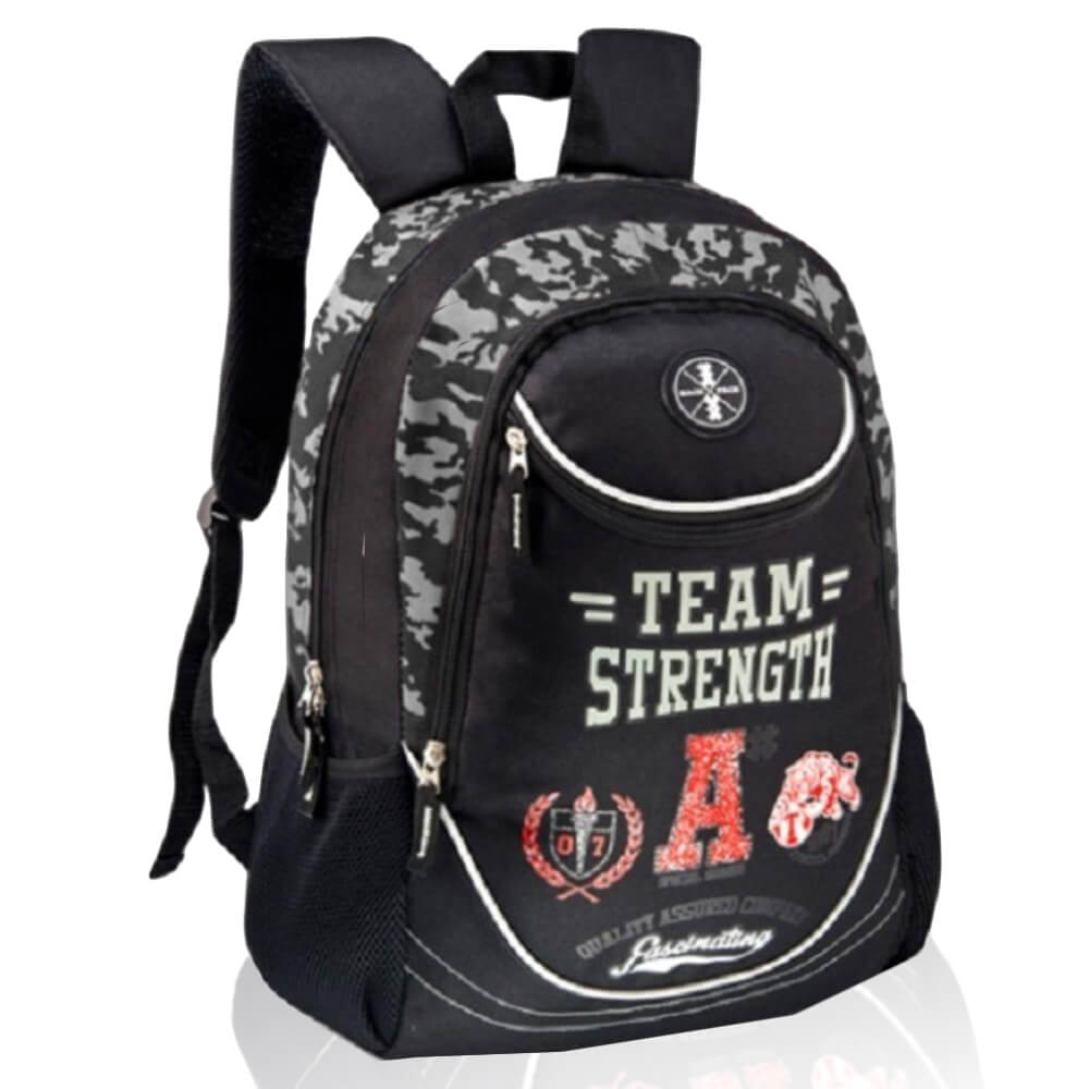 Mochila Masculina Casual Team Strenght Preta