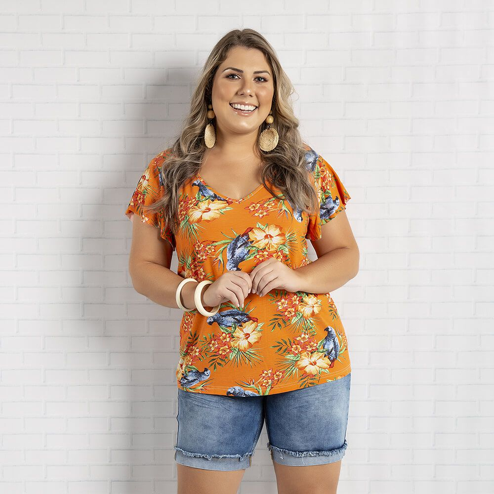 Blusa Feminina Plus Tropical