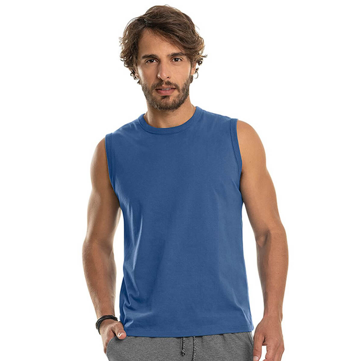 Regata Machão Masculina Básica Premium Azul