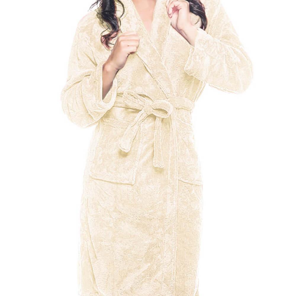 Roupão Adulto Kimono Aveludado Creme