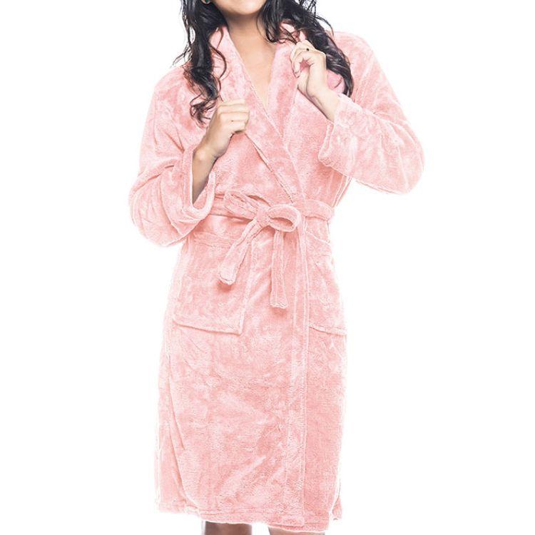 Roupão Adulto Kimono Aveludado Lepper Rosa