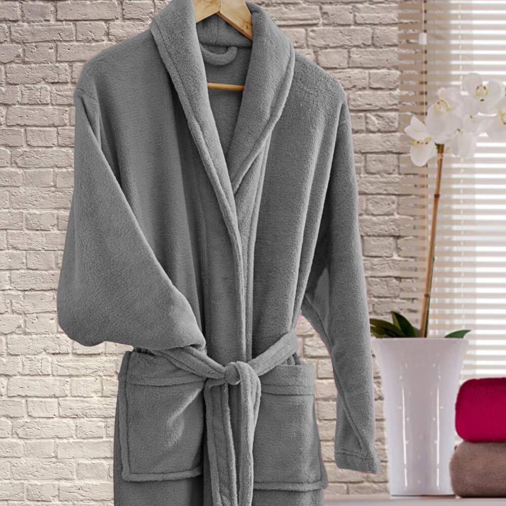 Roupão Adulto Kimono Cinza