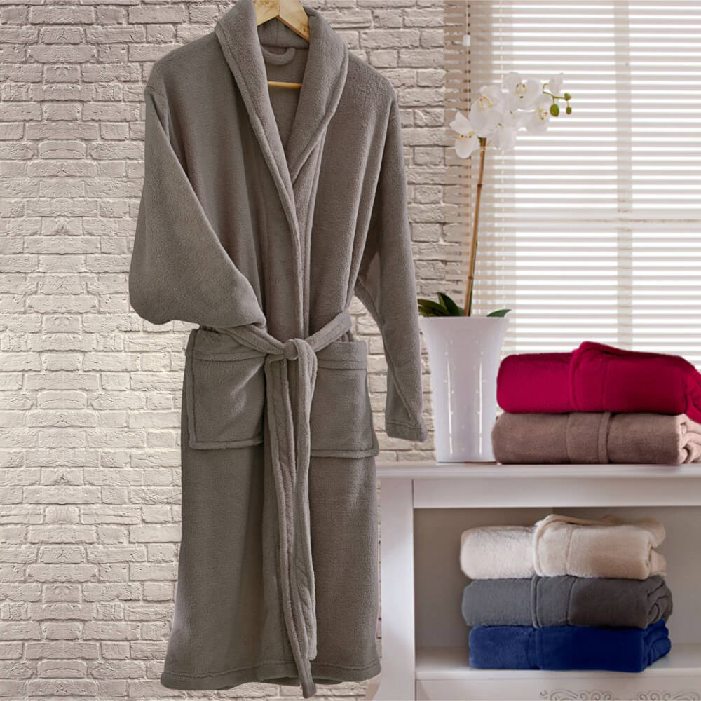 Roupão Adulto Kimono Taupe