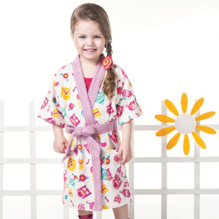 Roupão Infantil Felpudo Kimono Birds