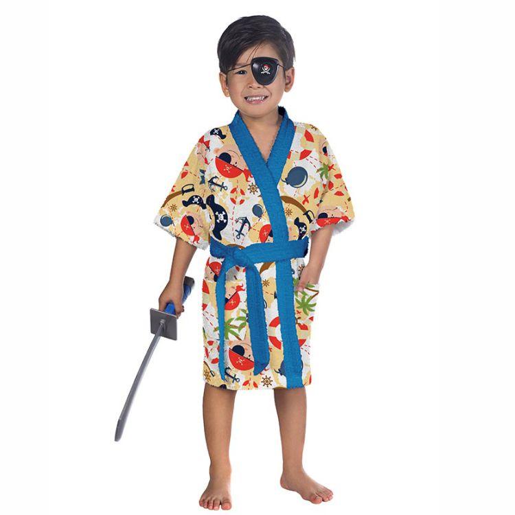 Roupão Infantil Felpudo Kimono Pirata