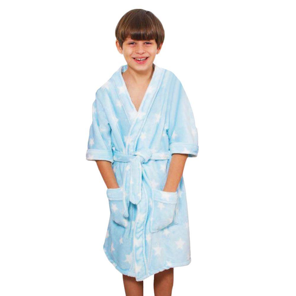 Roupão Infantil Kimono Aveludado Azul
