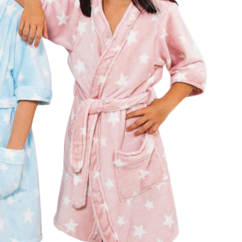 Roupão Infantil Kimono Aveludado Rosa