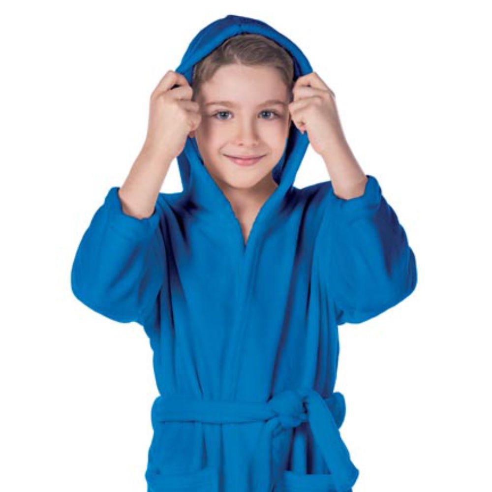 Roupão Infantil Kimono com Capuz Azul