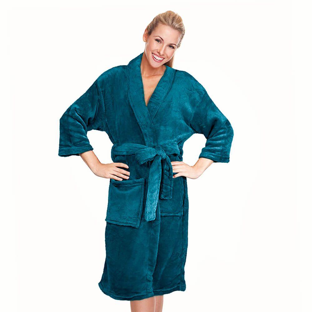 Roupão Kimono Aveludado Azul Petróleo