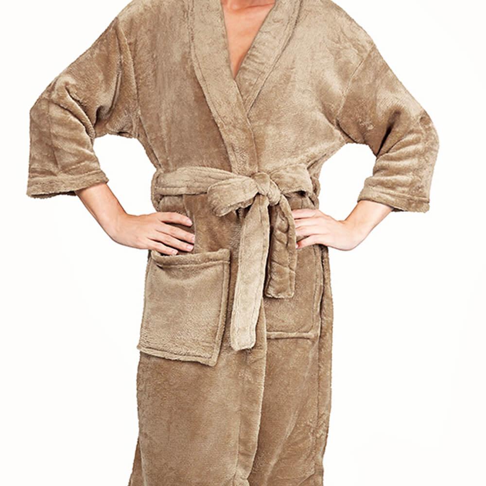 Roupão Kimono Aveludado Bege